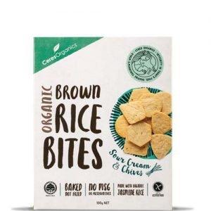 Ceres Organics Brown Rice Bites Sour Cream & Chives 100G