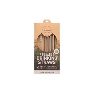 Caliwoods Bent Metal Drinking Straws 4Pk