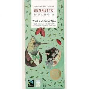 Bennetto Mint & Cocoa Nibs Chocolate Bar 100G