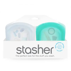 Stasher Pocket Clear + Aqua 2 Pack
