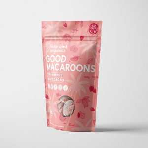 Little Bird Organics Good Macaroons Strawberry & White Cacao 125G