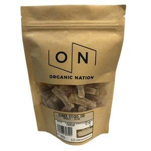 Organic Nation Crystallized Ginger Sticks 150G